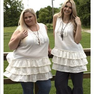 Paper Lace Tiered Cream Tunic